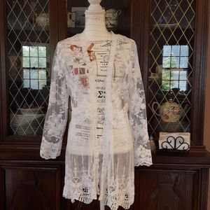 Summer Floral lace embroidered cardigan Size L